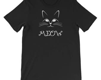Meow Shirt Cat with Whiskers Face Tee