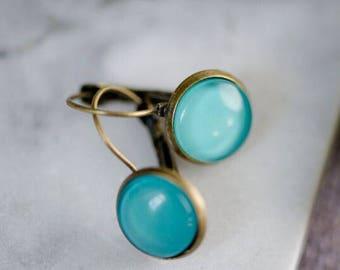 GORGEOUS DROP EARRINGS - French Lever Back 12mm Earrings - Blue
