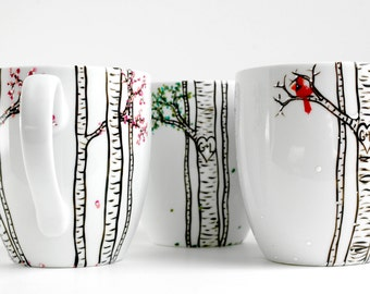 Four Seasons Birch Tree Collection - 4 Large Personalized Mugs depicting The Four Seasons, Wedding Gift, Personalized Wedding Gifts
