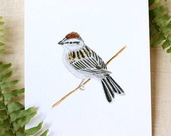Sparrow Watercolor Fine Art Print Watercolor Bird Painting Bird Print Nature Prints Nature Art Watercolor Art Home Decor Gifts  Bird Watcher