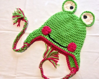 Froggie Ear Flap Crochet Pattern Newborn to Adult