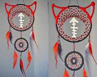 Cat Dreamcatcher dream catcher kitty dreamcatcher Nursery decor dreamcatcher red black Pet Decor Amulet Animals