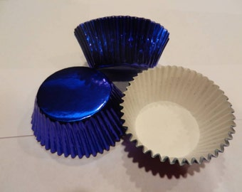 48 Blue Foil Wedding Cupcake Liner Baking Cup Standard Size Baking Supplies Jenuine Crafts
