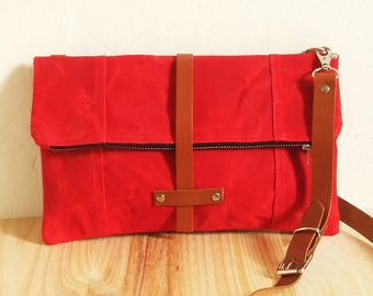 Waxed Canvas Bag , FoldOver , Crossbody Bag , Handbag , Leather Handles
