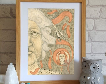 Surreal Art Print -  Illustration of old woman, whimsical art,  pencil drawing, wall art prints, home decor, portrait, bedroom decor