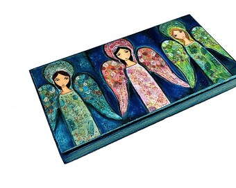 Three Angels -  Giclee print mounted on Wood (5 x 10 inches) Folk Art  by FLOR LARIOS