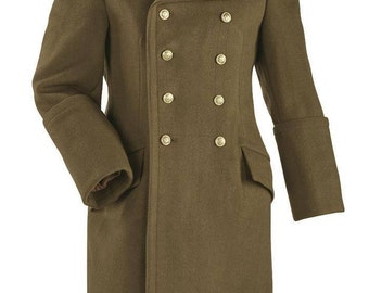 1970's AUTHENTIC Military  STYLE VINTAGE Hungarian Army Officer's Double Breasted Wool Overcoat Greatcoat