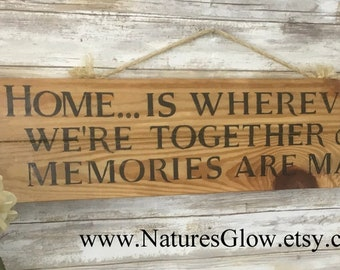 HOME Sign, Farmhouse Decor, Rustic Wall Decor, Inspirational Sign, Wood Plank Sign, Home Quote Sign, Country Wall Decor, Home is Wherever