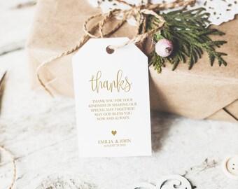 Wedding Thank You Tags Printable, Wedding Thank You Tags Template, Gold Tag Printable, Printable Gift Tags, Wedding Favor Tag, Gift, 6022_1
