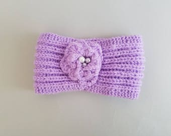 Hand Knitted Headband with Flower
