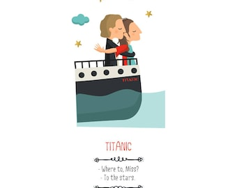 Illustration, print, Titanic, Tutticonfetti, wall art, art decor, hanging wall, printed art, art work, decor home, gift idea, sweet home.