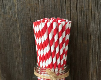Red Paper Straws, 100 Stripe Straws, Birthday Straws, Red Stripe Straws, Free Shipping