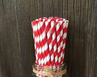 Red Paper Straws, 100 Stripe Straws, Birthday Straws, Red Stripe Straws, Free Shipping