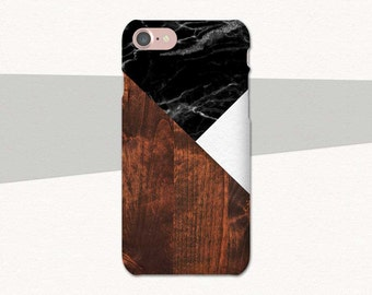 Black Marble Dark Brown Wood White Geometric Phone Case, iPhone 6 Case, 7 6s Plus 5, Samsung Galaxy S7, S6 S5, Edge, Note, Lg G5, LG G6