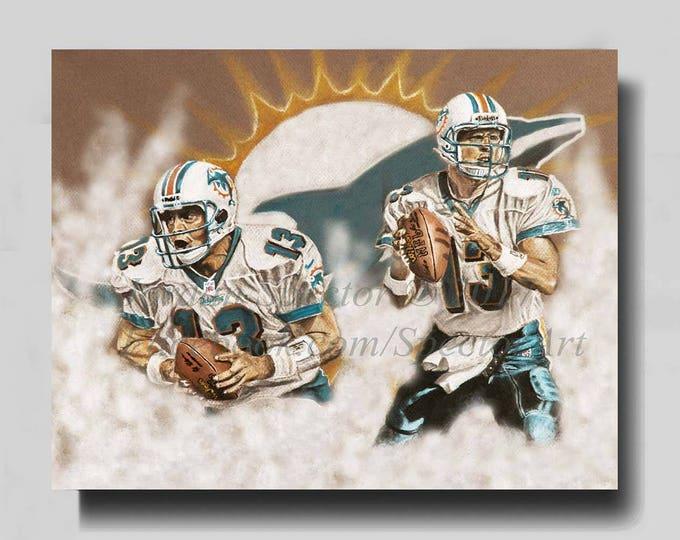 Miami Dolphins - Dan Marino - Canvas Print - Wall Art- Man Cave Art - Dolphins Decor - Dorm Decor - Gift Ideas - Miami Art - Dolphins