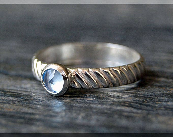 Featured listing image: Sterling Silver Birthstone Ring, Choose Your Birthstone, Stacking Gemstone Ring, Striped Shank Ring, Layering Ring, Inverted Setting