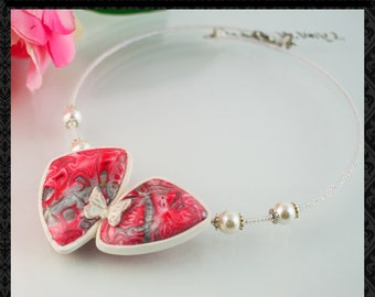 Choker necklace - Necklace in Handmade - Butterfly necklace - Polymer clay jewelry - Gift for women