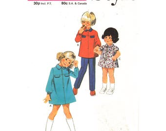 Girls Mod Dress Top & Pants Pattern Style 3493 Zipper Front Dress or Tunic and Trousers Girls Size 5 Vintage Sewing Pattern