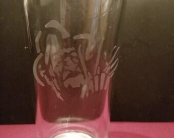 Freddy Krueger Etched Pint Glass
