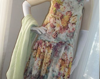 1920s Style Flapper Frock Antique Floral Print Size S/M Shawl Included Gauze