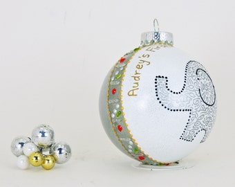 Personalized Baby ornament - Custom hand painted glass ornament - Adorable elephant