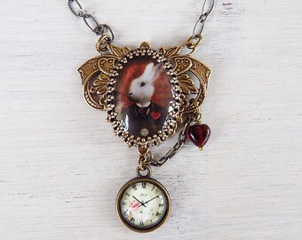 Alice in Wonderland, Wonderland necklace, White Rabbit necklace, White rabbit wonderland, white rabbit pendant, rabbit jewelry, alice gift