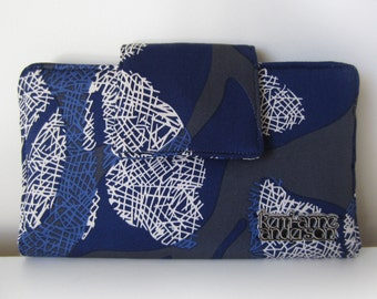 Women's Bifold Wallet Clutch Purse with Zip Pocket and Card Slots in Blue
