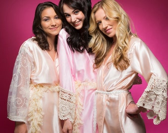 Pink and Peach Luxurious Silk Lace Robes | Bridesmaids Robes, Kimono Robes, Bridesmaids gift, getting ready robes