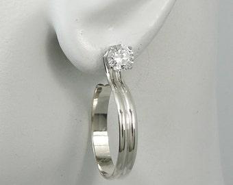 EARRING JACKETS Silver Dangling Hoop, Diamond Jacket, Stud Jackets, Jackets for Post Earrings, Ear Jacket, Double Half Round Hoop JHDHRSS22M