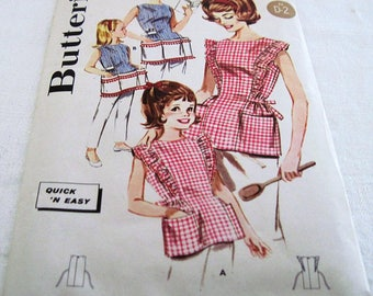 Vintage Butterick Sewing Pattern #2518, Mother Daughter Aprons Circa 1960's Never Used