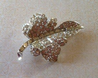 Stunning Vintage Rhinestone Leaf Brooch Great Gatsby Art Deco Glam Wedding Bridesmaid Prom