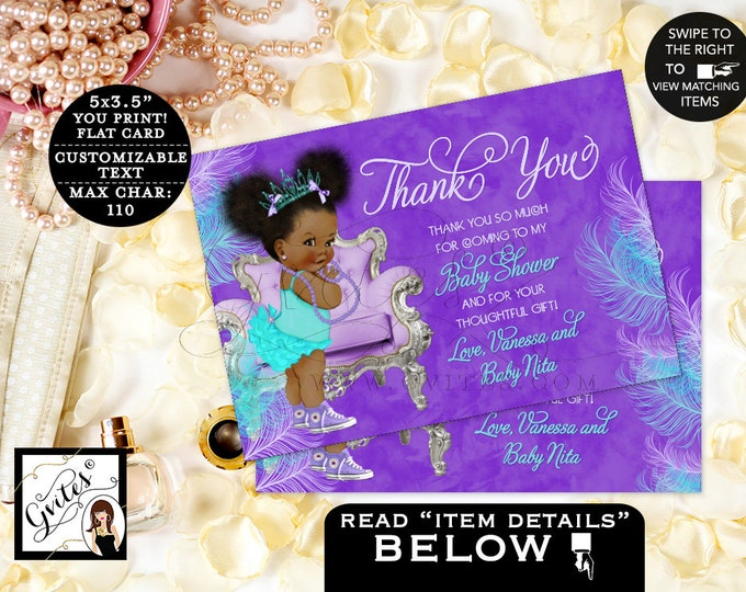"""Thank You Cards Purple Lavender Aqua Turquoise Blue, Princess Baby Shower, Afro Puffs African American Vintage Gvites. {5x3.5"""" 4 Per/Sheet}"""