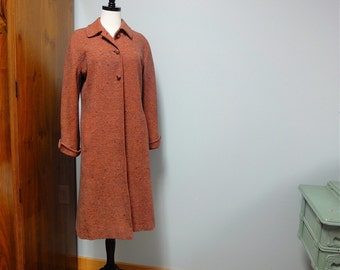 Laine de Vera Maxwell Original manteau Tweed des années 1940, Orange Spice