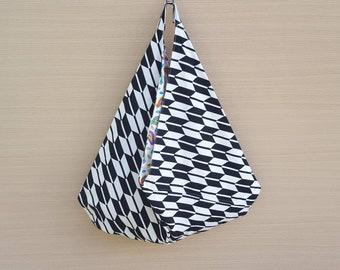 Beach Bag, Hobo Slouch Bag, Bento Origami Bag, Black & Stone Bag, Japanese Style Bag, Unique Summer Bag, Large Market Bag