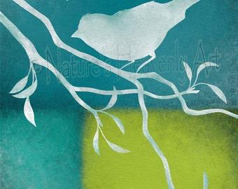 Lime Green Bird on Branch Nature Art Print, Blue Rustic Home Décor, Bird Wall Art, Silhouette (17)