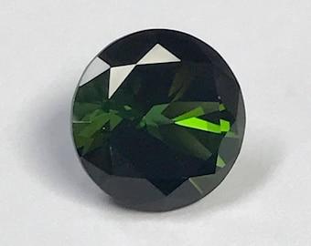 Vintage TOURMALINE Dark Green Faceted Loose Gem Round 2.71 cts fg247