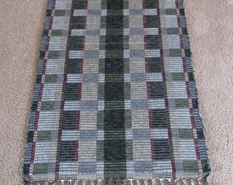 Handwoven Rag Rug in black/maroon/tan/sage