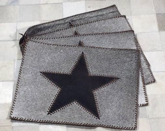 Cowhide Placemat Set with Texas Lone Star   FREE SHIPPING