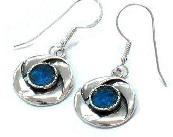 Lovely Roman Glass Earrings, Roman Glass Jewelry, Unique Silver Earrings, Ribbons Earrings, Round Silver Earrings, Dangle Earrings