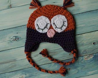 Crochet Sleepy Owl Earflap Beanie Newborn to Adult
