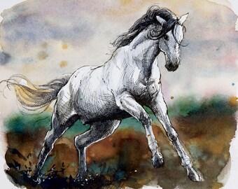 White horse original watercolor painting