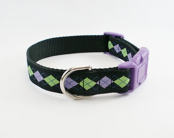 "Hipster Purple Argyle Dog Collar - 1"" (25mm) Wide - Martingale Dog Collar or Quick Release - Choice of size and style"