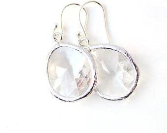 Bridesmaid Earring Clear Glass earrings Silver Earrings Crystal drop Earrings Dangle Earrings Bridal Earrings Modern Jewelry Clear Wedding
