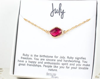 July Birthstone Gold Necklace, Ruby Gold Necklace, Ruby Necklace, July Birthstone Jewelry, July Birthday, Bridesmaid Jewelry