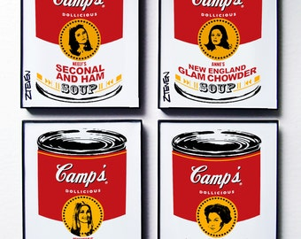 Valley of The Dolls Pop Art Soup, original art set of 4, by Zteven
