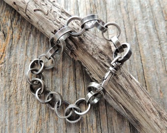 Heavy Sterling Silver Chain Bracelet, Artisan Jewelry, Handmade Chain Bracelet, Jewelry For Him, Jewelry For Her, Rustic Handcrafted, Urban