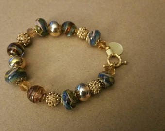 Handmade lamp work beaded bracelet with Swarovski  (65)
