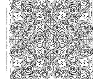 Mixed Chocolate Truffles - Adult coloring page printable download from Candy Kaleidoscope Artwork Anywhere ~hand drawn Valentine candies~
