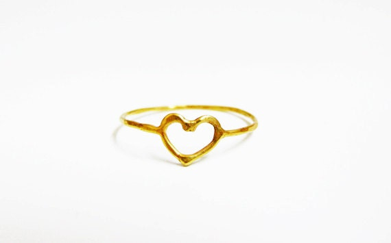 Gold Heart Ring 14k Solid Gold Ring Love Heart Ring