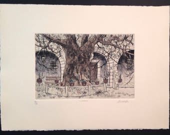 William Benecke signed original print Cuadra arched patio with ancient gnarled tree